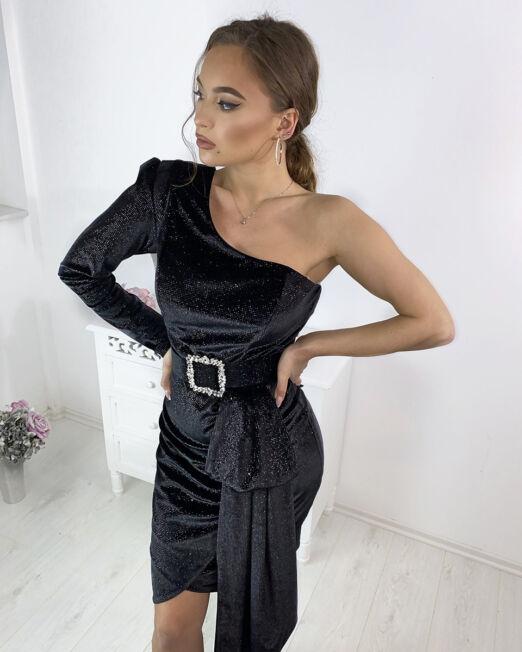 Tamara Shiny Dress in Black (1)