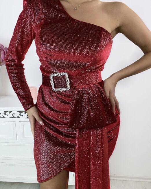 Tamara Shiny Dress in Red (1)
