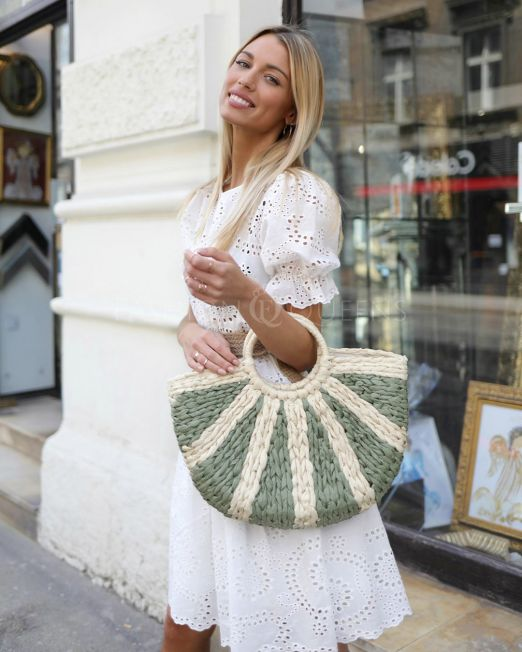 Georgia Straw Bag In Mint (1)