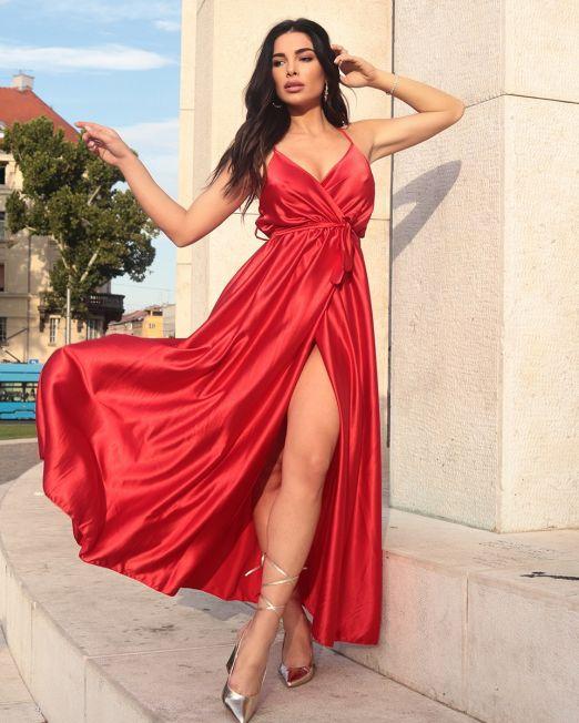 Nadia Long Dress in Red (2)