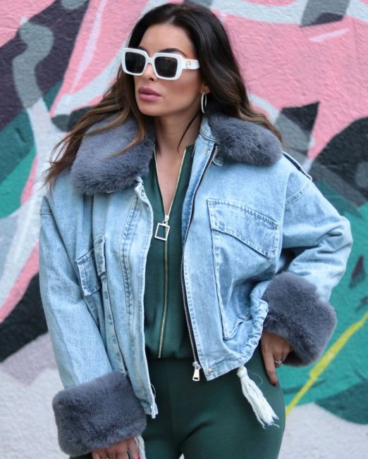 Naomie Blue Denim Jacket – Grey Fur (2)