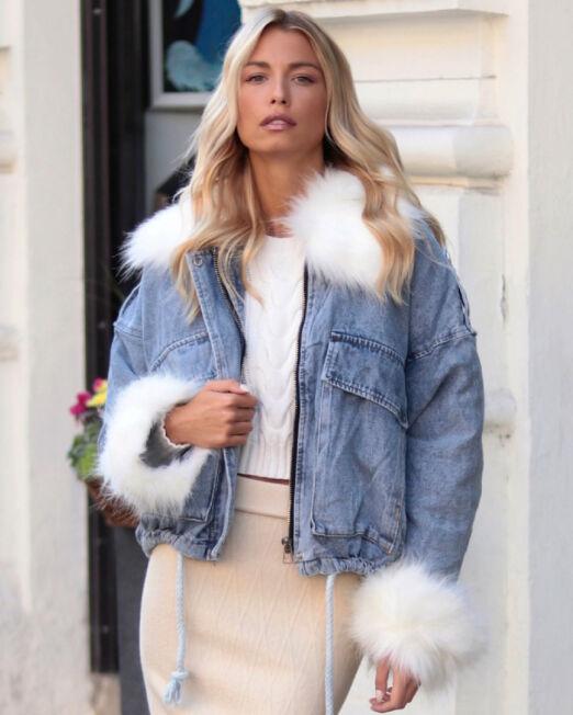 Naomie Blue Denim Jacket White Fur (7)