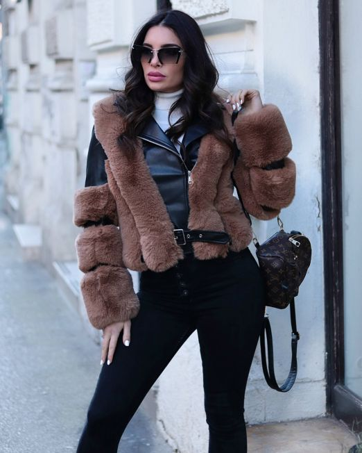 Tine Jacket Faux Black Leather & Brown Fur (6)