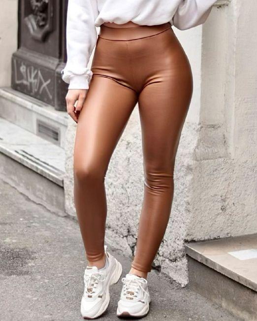 Patricia Latex Leggings Camel Mat Faux Leather (2)