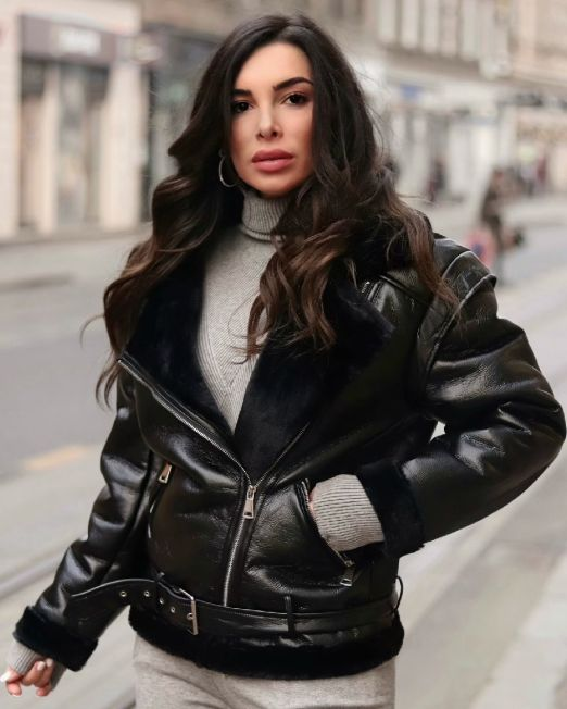 Zara Jacket Faux Black Leather & Black Fur (1)