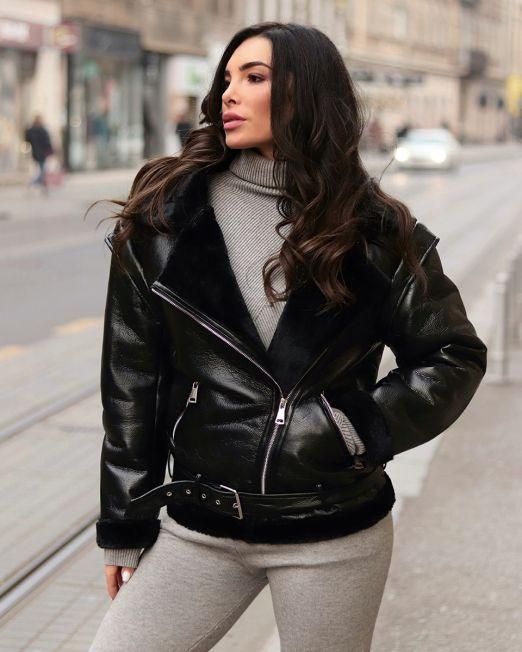 Zara Jacket Faux Black Leather & Black Fur (4)