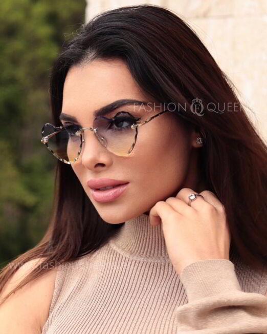 Diamond Heart Rimless Sunglasses with Bluish Yellow Glass (1)