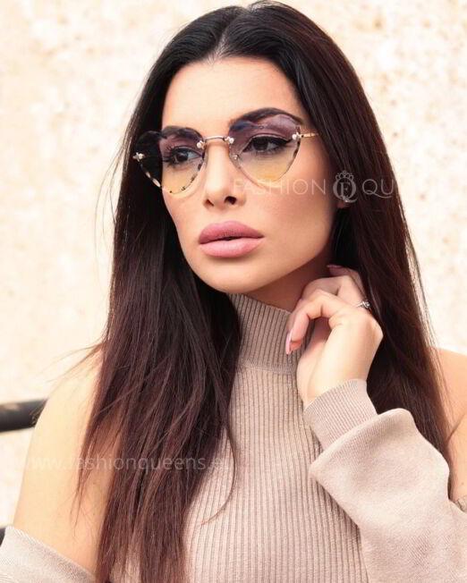 Diamond Heart Rimless Sunglasses with Bluish Yellow Glass (4)
