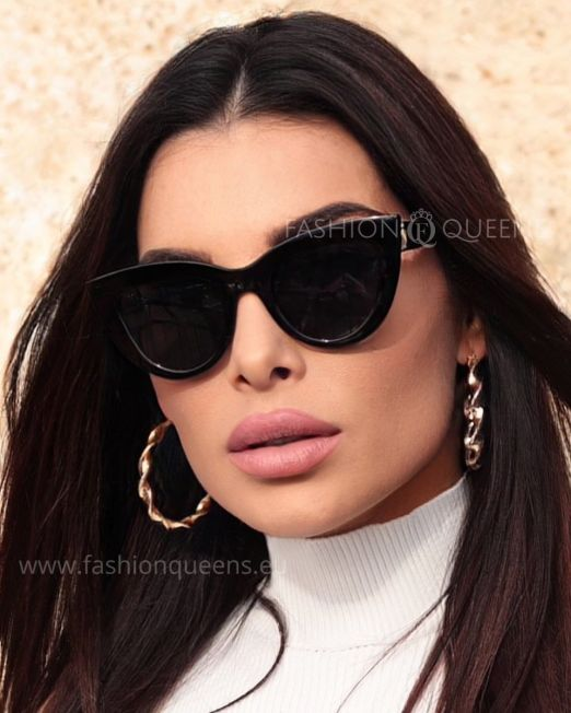 Vintage 50's Inspired Cateye Sunglasses with Black Frame Black Glass (2)