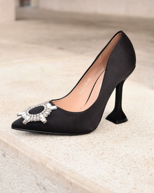 Cloe High-heeled satin shoes in black with Rhinestone detail (2)