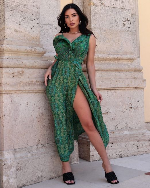 India Green Long Wrap Flutter Summer Dress With Arty Print (2)