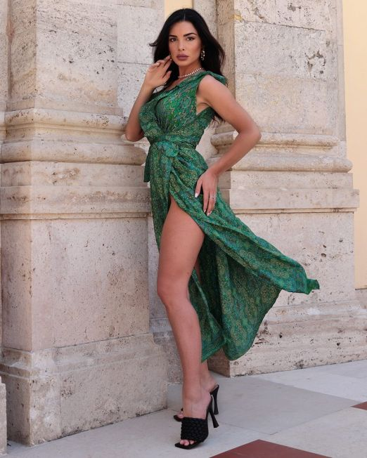 India Green Long Wrap Flutter Summer Dress With Arty Print (3)