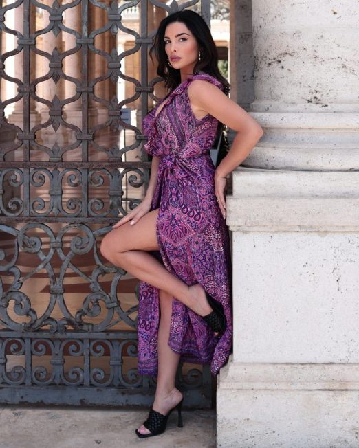 India Rose – Long Wrap Flutter Summer Dress With Arty Print (2)