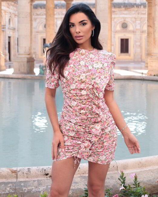 Leila Floral Print Mini Dress With Puff Sleeve (1)