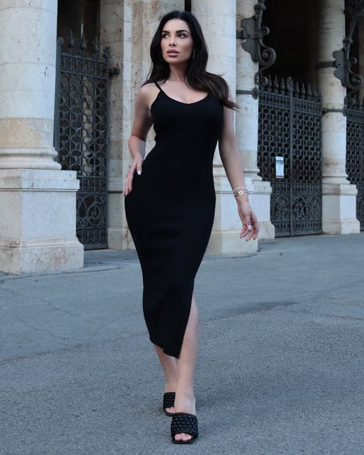 Micol Bodycon Ribbed Dress Black (2)
