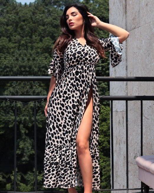 Tifany Midi Dress With Ruffle Hem And Leopard Print (2)